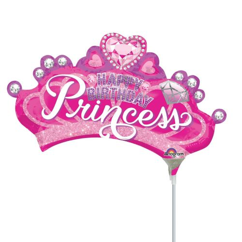 Princess Crown & Gem Happy Birthday Mini Shape Flat
